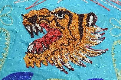 "Vintage Blue Embroidered Tiger Tablecloth 52"" x 64"" & 8 Napkins 11"" x 11.5"""