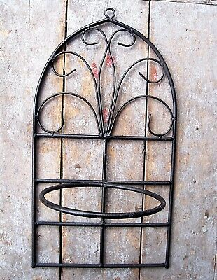Tall Vintage Cathedral Window Style Iron Planter Pot Hanger Home & Garden Stand
