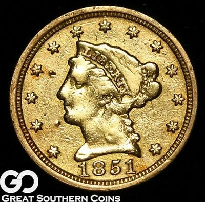 1851 Quarter Eagle, $2.5 Gold Liberty, Details ** Free Shipping!