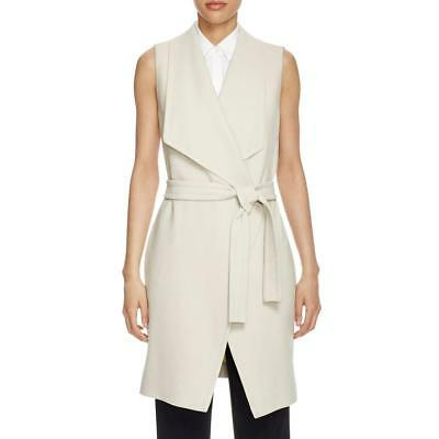 Hugo Boss 0148 Womens Beige Trench Belted Solid Casual Vest Outerwear 10 BHFO