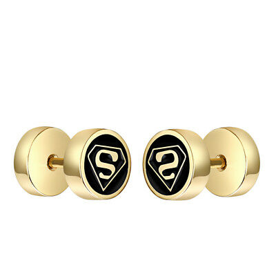 TT 8mm Gold Tone Surgical Steel SupermanRound Fake Ear Plug Earrings (BE262) NEW
