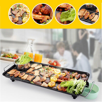 Electric Teppanyaki Table Top Grill Griddle BBQ Barbecue Nonstick For Camping AU