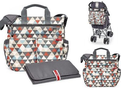 Skip Hop Duo Signature Diaper Bag With Portable Changing Mat, Triangles