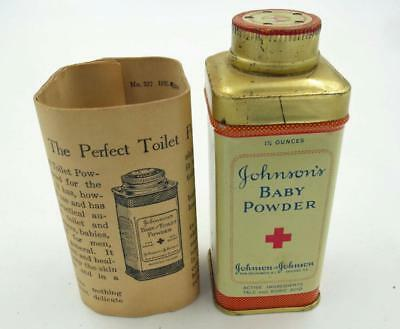 Vintage Johnson & Johnson Baby Powder Tin Never Used With Original Papers