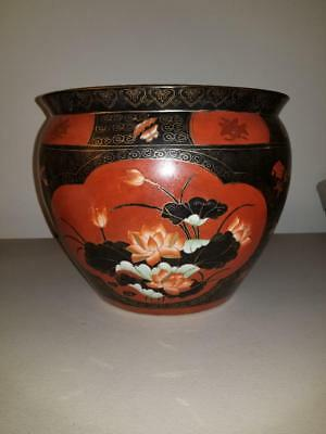 """Vintage Large Chinese Porcelain Fish Bowl Planter Stamp 12"""" inches wide 10"""" tall"""