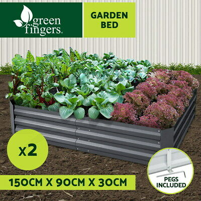 2x Galvanised Steel Raised Garden Bed Grey Instant Planter 150cm x 90cm