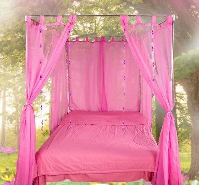 Queen Pink Yarn Mosquito Net Bedding Four-Post Bed Canopy Curtain Netting .
