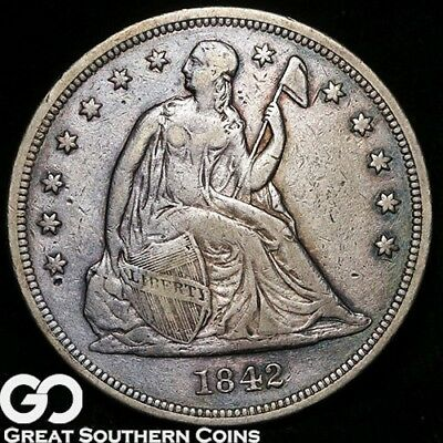 1842 Seated Liberty Dollar, Highly Demanded VF++ Silver Dollar ** Free Shipping!