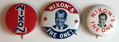 "Original NIXON'S THE ONE 1968 Campaign 1"" Pin Button Set of 3; Richard Nixon"