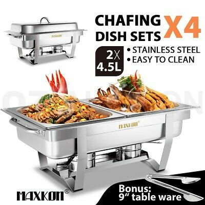 4 Set Bain Marie Bow Chafing Dish Stainless Steel Buffet Warmer Food Pan 4.5Lx2