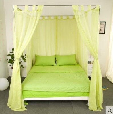 Single Green Yarn Mosquito Net Bedding Four-Post Bed Canopy Curtain Netting .