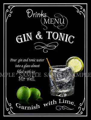 Gin And Tonic  Retro Pub,bar,club, Man Shed,home Bar,metal Sign-Plaque Gift