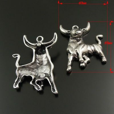 4pcs/lot Vintage Silver Zinc Alloy Cow Bull Look Jewelry Charms Pendants Crafts
