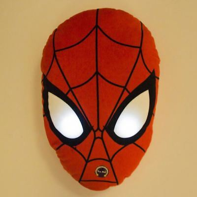 Official Spiderman Led Light Up Shaped Cushion Red Boys Childrens