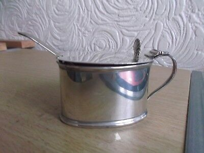 Large George V Solid Silver Mustard Pot 1915 with Liner & Spoon