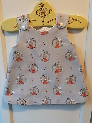 *LAST ONE* 0-3 months Baby Girls Pinafore Dress PETER RABBIT Flopsy Bunny Fabric