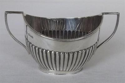 A Fine Solid Sterling Silver Twin Handled Victorian Sugar Bowl Sheffield 1900.