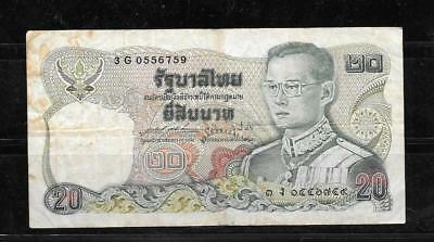 Thailand Thai #88 1981 20 Baht Vg Circ Banknote Paper Money Currency Bill Note