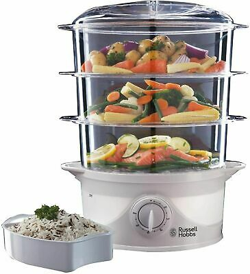 Russell Hobbs Three Tier 9L Food Steamer 800W White - 21140