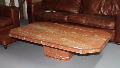 Original 1970s Rosso Italian Marble Coffee Table  -  Warwick Reclamation
