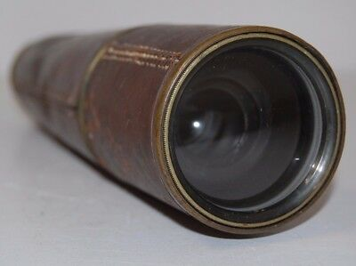 "Vintage Telescope by Broadhurst Clarkson & Co London - Leather Bound 30"" Length"