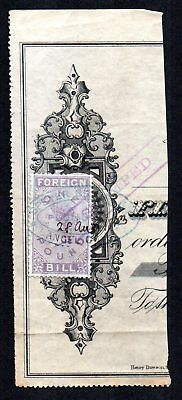 GB QV REVENUE Foreign Bill £1 Lilac on piece company stamped cancel Speyer & Co