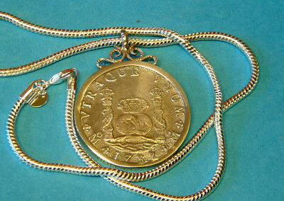Superb 1737 8 REALE Engraved Silver Pendant - HOLLANDIA shipwreck 1743