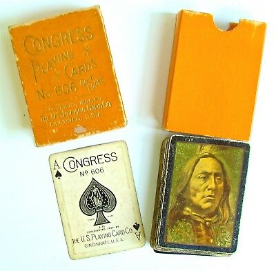 Rookwood FULL DECK OF INDIAN PLAYING CARDS #606 W GOLD EDGES - US Playing Cards