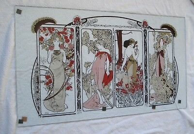 "Rare 4 seasons Alphonse Mucha Art Nouveau on 1/4"" thick glass *signed* 91cm long"