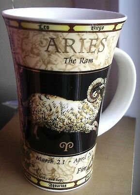 Dunoon Aries birthday Zodiac large mug ram March April gilded horoscope thistle