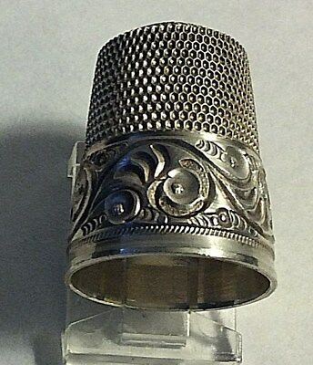 Antique Simons Sterling Silver Scrolls and Cartouche Design Thimble Sewing Sz 12