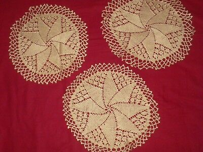 Vintage 3 pcs   Hand Knitted Doily, DOILIES
