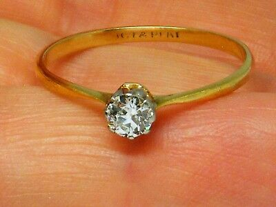 18ct Gold 18k Gold 0.25ct Old Cut Solitaire Diamond  Ring size T