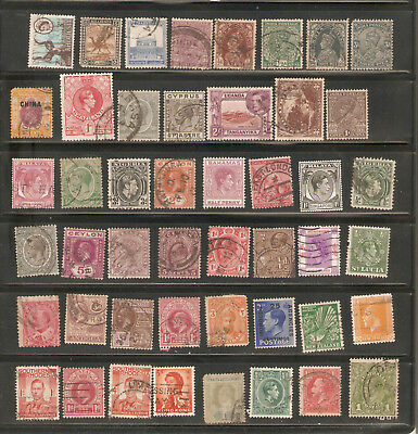 a stock page of mixed used stamps from British Colonies,start:Rhodesia.