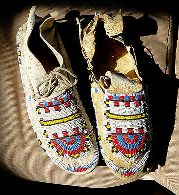 Native American Beaded Moccasins Plains Indian 1890-1900