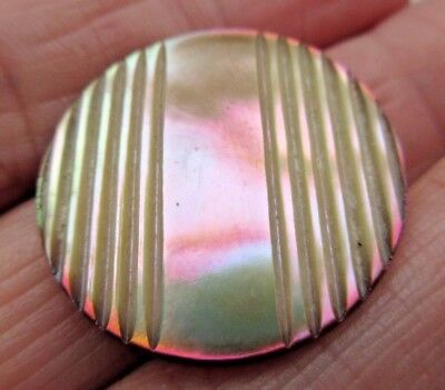 """Exceptional Antique~ Vtg Victorian Dyed Carved MOP Shell BUTTON Brass Shank 1"""""""
