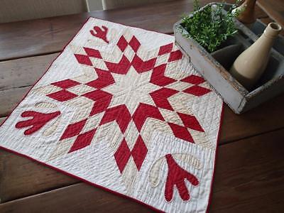 ANTIQUE c1850 Red Tan White Table or Doll QUILT Star 23x22