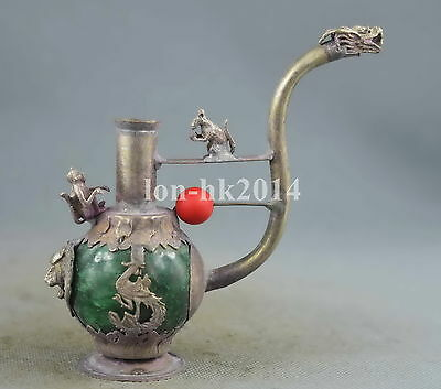 Collectable Handwork Agate Armor Miao Silver Carve Dragon Exorcism SMoking T00l