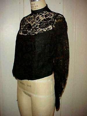 ANTIQUE VICTORIAN BLACK LACE BLOUSE w/ VERY SHEER NECKLINE & LONG SLEEVES