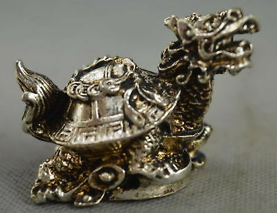China Collectable Handwork Old Miao Silver Carve Dragon Tortoise Exorcism Statue