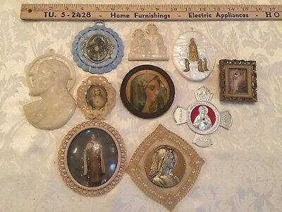 10 x VINTAGE RELIGIOUS CATHOLIC WALL PLAQUES PLASTIC JESUS MARY SAINTS BLESSINGS