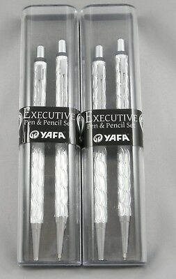 2 Brand New Executive Ballpoint Pen & .7mm Pencil Sets - Silver Wave & Chrome