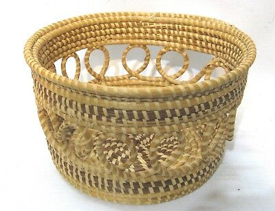 Vintage large Charleston BASKET sweetgrass Gullah coil