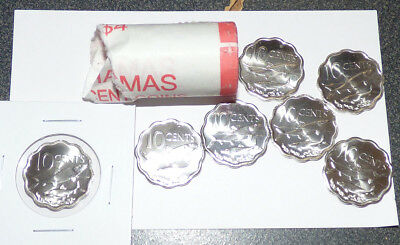 Bahamas 10 Cents 2010, Partial Mint Roll of 21 Coins w/ Bonefish, Fish, KM 219