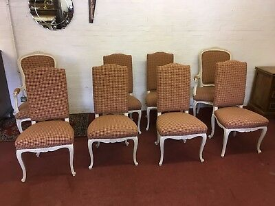 Outstanding Set Of Eight French Carved Oak Painted Chairs