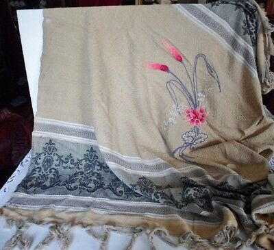 Antique Bedspread Tied Fringed Cover Throw Cotton Embroidered Flowers Cattails