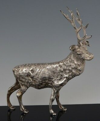"""Vintage HEAVY 335g SOLID 800 Egyptian Silver XL 6"""" ELK STAG FIGURINE MINIATURE"""
