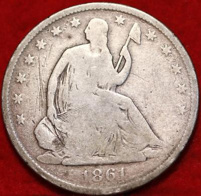 1861-O New Orleans Mint Silver Seated Liberty Half Dollar Free S/H