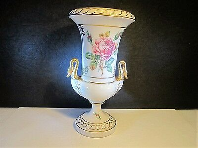 Fancy VTG Large Pink Rose Decorated Urn With Gold Swan Handles Shaped Vase