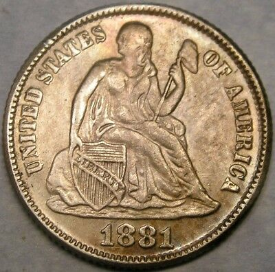 1881 Liberty Seated Silver Dime Appealing Beautiful Very Rare Only 24,000 Struck